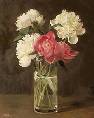 Painting - Peonies In Glass Vase Against Brown Background by Robert Holden