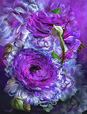 Mixed Media - Peonies In Lavenders by Carol Cavalaris