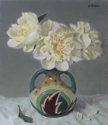 Painting - Peonies In Lightning Bolt Vase by Robert Holden