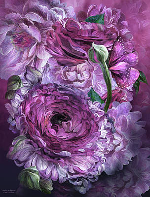 Mixed Media - Peonies In Mauves by Carol Cavalaris