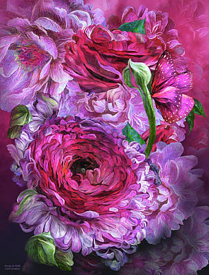 Mixed Media - Peonies In Pinks by Carol Cavalaris