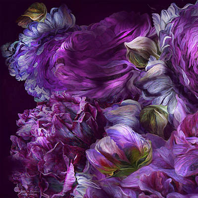 Mixed Media - Peonies In Purples 3 by Carol Cavalaris