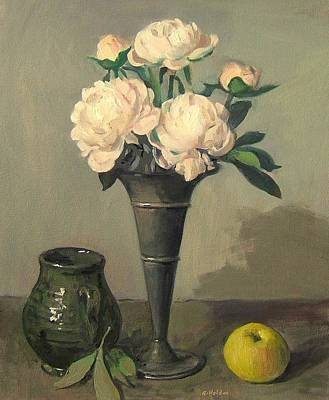 Painting - Peonies In Silver Trumpet Vase, After Alterations by Robert Holden