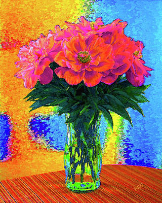 Digital Art - Peonies In Vase Pop Art by Ben and Raisa Gertsberg