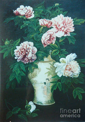 Peonies In Vase Art Print by Tierong Fu