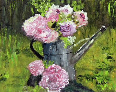 Painting - Peonies In Watering Can by Michael Helfen