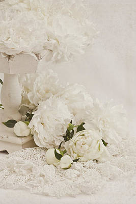 Still Life Photograph - Peonies In White  by Sandra Foster