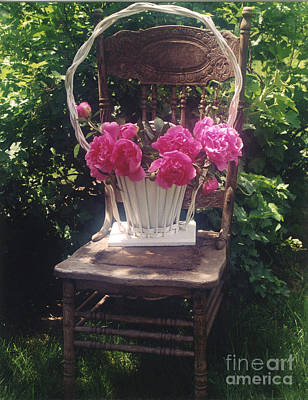 Cottage Chairs Photograph - Peonies In White Vintage Basket - Shabby Cottage Chic Garden Vintage Chair Basket Of Peonies by Kathy Fornal