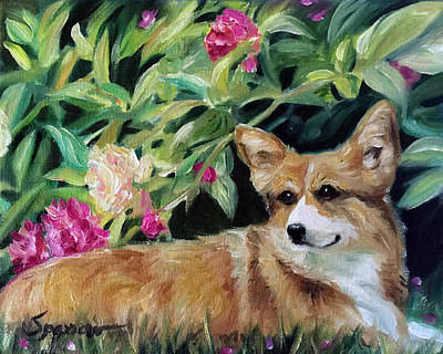 Herding Dog Painting - Peonies by Mary Sparrow