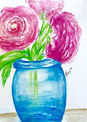 Peonies Mason Jar Art Print by Gail Nandlal