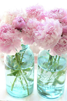 Photograph - Peonies Mason Jars - Pink Peonies Vintage Mason Jars - Shabby Chic Peony Wall Decor by Kathy Fornal