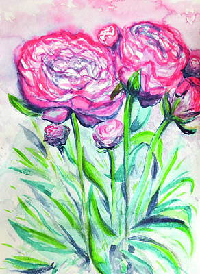 Wet-on-wet-technique Painting - Peonies by Melissa Brazeau