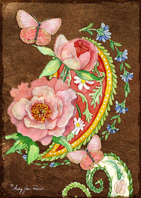 Painting - Peonies N Paisleys 1 by Audrey Jeanne Roberts