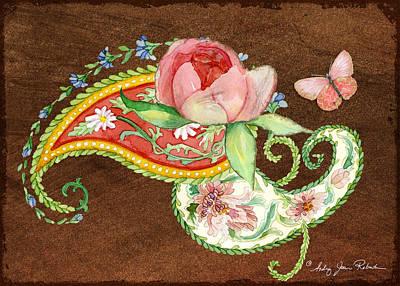 Painting - Peonies N Paisleys 3 by Audrey Jeanne Roberts