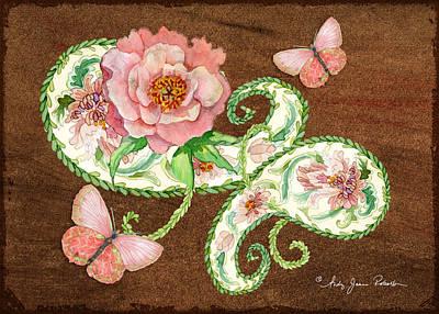 Painting - Peonies N Paisleys 4 by Audrey Jeanne Roberts