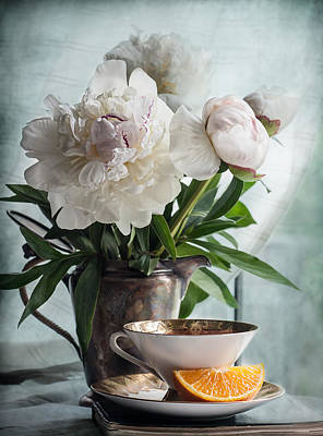 Orange Photograph - Peonies Tea And Oranges by Maggie Terlecki