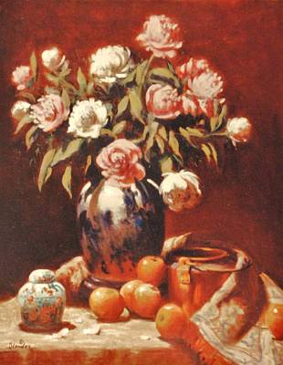 Peonies With Ginger Jar Art Print by David Olander