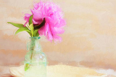 Photograph - Peony And Blue Bottle Still Life by Rich Franco