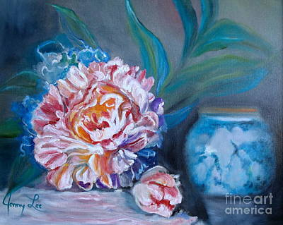Art Print featuring the painting Peony And Chinese Vase by Jenny Lee