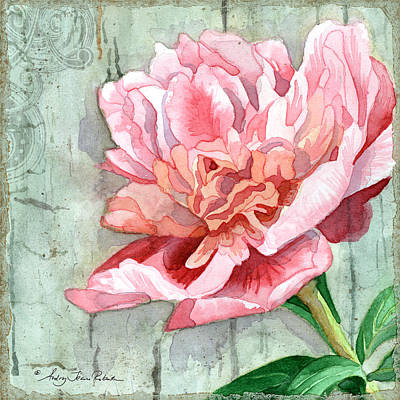 Barn Wood Painting - Peony At The Fence 2 by Audrey Jeanne Roberts