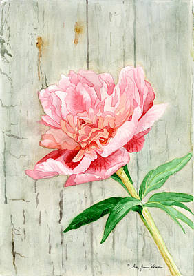 Barn Wood Painting - Peony At The Fence by Audrey Jeanne Roberts