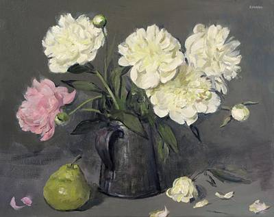 Painting - Peony Beauties In An Old Tin Can by Robert Holden