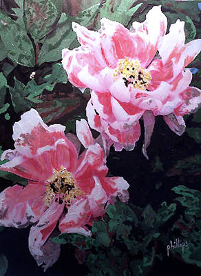 Art Print featuring the painting Peony Blooms by Jim Phillips
