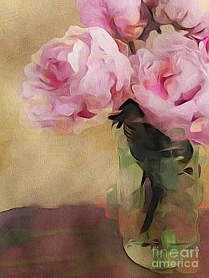 Art Print featuring the digital art Peony Bouquet by Alexis Rotella