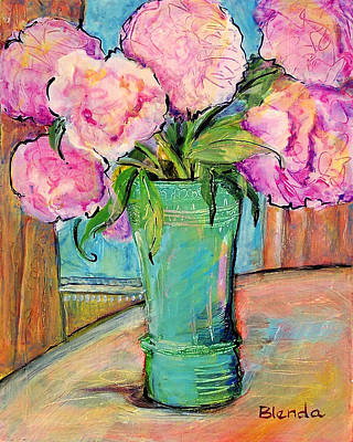 Floral Bouquet Painting - Peony Bouquet In A Window by Blenda Studio
