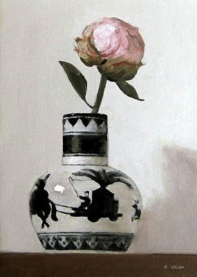 Painting - Peony Bud In Japanese Caravan Vase by Robert Holden