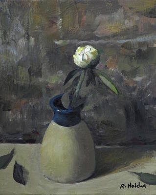 Photograph - Peony Bud In Rustic Blue-collar Pottery by Robert Holden