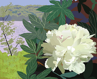 Wall Art - Painting - Peony By The Lake by Marian Federspiel