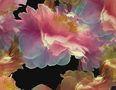 Mixed Media - Peony Cluster 18 by Lynda Lehmann