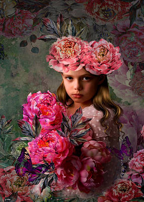 Little Girl Mixed Media - Peony Flower Child 002 by G Berry