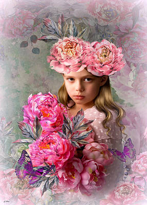 Little Girls Mixed Media - Peony Flower Child by G Berry