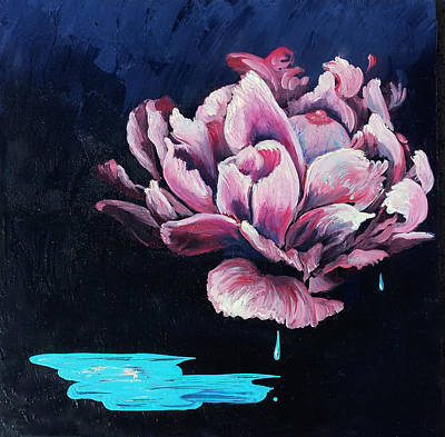 Miscarriage Painting - Peony by Leah Richter