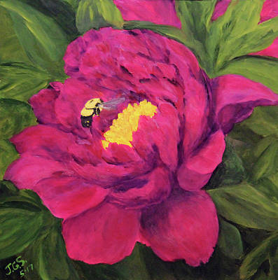 Painting - Peony N Bee by Janet Greer Sammons