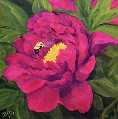 Painting - Peony N Bee by Janet Greer Sammons