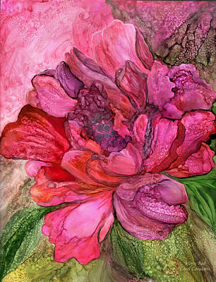 Mixed Media - Peony Red - Organica by Carol Cavalaris