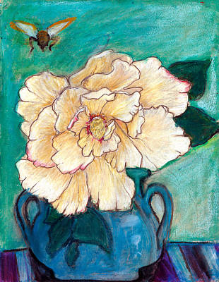 Blue Jug Painting - Peony With Bee by Ethel Vrana