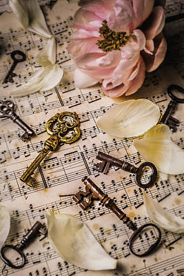 Music Score Photograph - Peony With Old Keys by Garry Gay