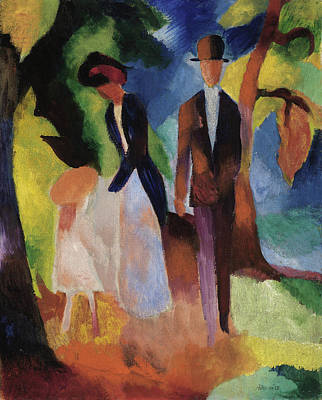 Out Of The Woods Painting - People At The Blue Lake by August Macke