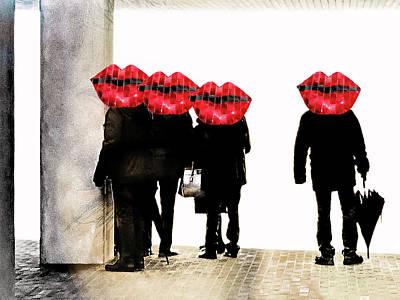 Hamburg Digital Art - People At The Elphi With Red Lips by Gabi Hampe