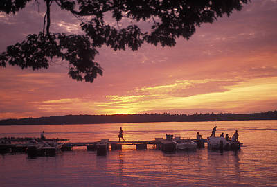 People At The Marina At Sunset Art Print by Richard Nowitz