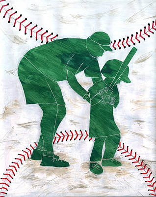 Softball Painting - People At Work - The Little League Coach by Lori Kingston
