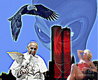 Digital Art - People Birds Tower And Alien by Algirdas Lukas