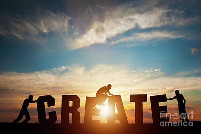 Arrange Photograph - People Connect Letters To Compose The Create Word. Creativity, Making Art, Teamwork by Michal Bednarek