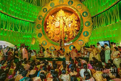 Durga Puja Photograph - People Enjoying Inside Durga Puja Pandal Durga Puja Festival by Rudra Narayan  Mitra