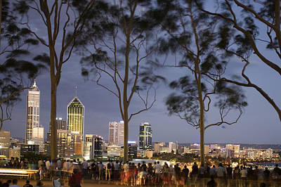 People In Kings Park Watching Fireworks On Australia Day With Perth Skyline In Background Art Print by Orien Harvey