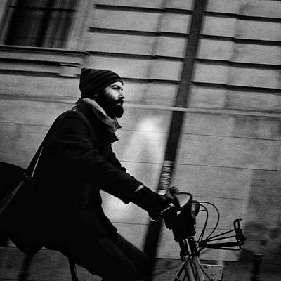 Cycling Wall Art - Photograph - #people #man #beard #hood #winter #bike by Rafa Rivas